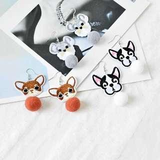 🚚 🐶 Stitched Dog Pom Pom Earrings 🐶