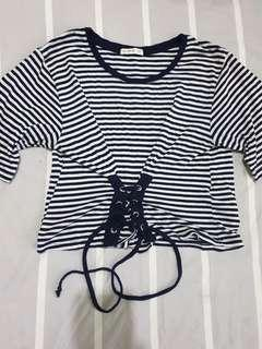 Cotton on striped drawstring shirt
