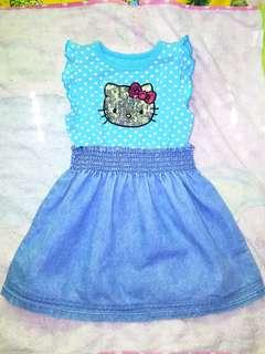 sanrio skyblue denim dress 3t