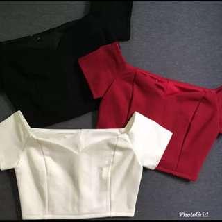 🚚 Off Shoulder crop TOP in BLACK and RED
