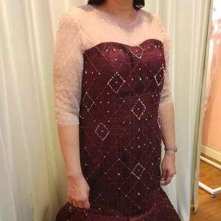 Marroon Designer Gown