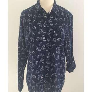 Blue & White Floral Long Sleeve Shirt
