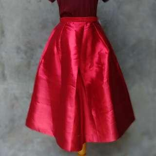 Premium Covet Syretia Red Flare Skirt