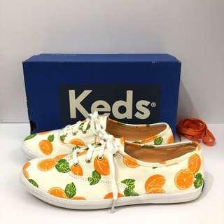🚚 Keds 歐洲尺寸38(繽紛香橙印花 綁帶休閒鞋-白/柑橘)