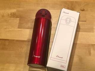 iTravel-超輕量真空鍍銅保溫瓶 500ml 桃紅