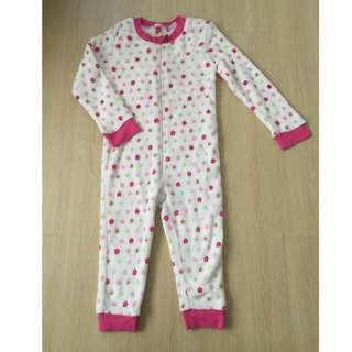 *New* White & Pink Polkadot Floral Fleece Sleepsuit