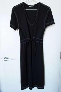 ZARA contrast stitching black v-neck dress