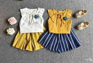 🚚 🌟PM for price🌟 🍀Girl Sleeveless Sweet Vest+Stripes Shorts 2pcs Set🍀