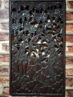 Ukiran kayu jati (relief) Rama Shinta