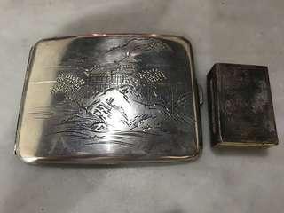 1940s Peranakan Silver Cigarette Case and Matchbox Case