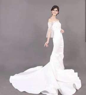 Classic Long Tail Mermaid Wedding Dress + Bolero (Harga Pas, Belum Termasuk Ongkir)