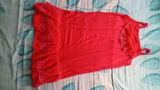 Orange red one piece dress