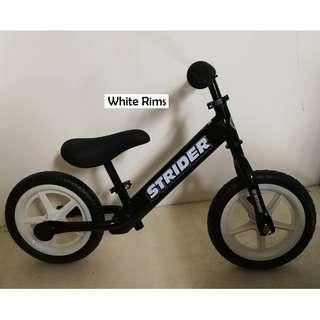 "Black Strider 12"" with White Rims Balance Bike Push Bike Stock Clearance"