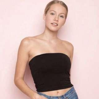 🚚 (instock) black knitted tube bandeau top