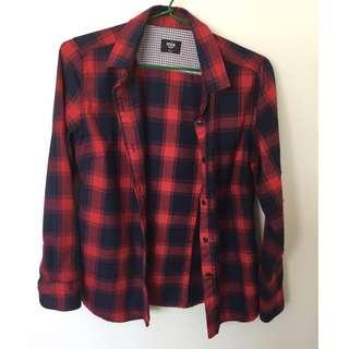 Red and navy checkered shirt