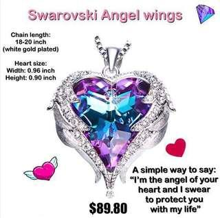 🚚 READY STOCK! V-day special... Angel Wings with Swarovski crystal