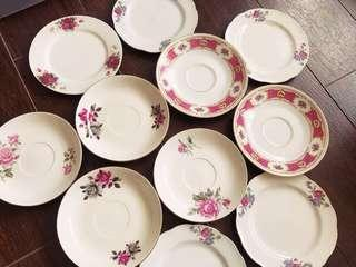 Mixed Vintage Lot of Pink Saucers & Cake Plates