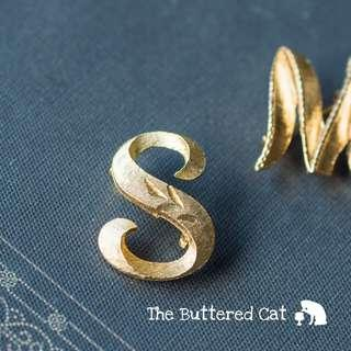 Vintage gold tone letter S initial brooch