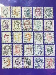 🚚 Different 25 pcs Germany Women Portraits Used Stamps