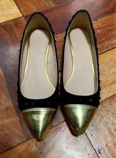 CMG Black and Gold Flats with studs design (Preloved)