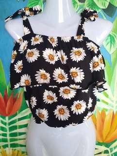 Black Sunflower Off Shoulder Tube Crop Top