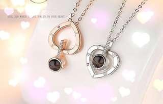 Heart-shaped Silver Projection (Iloveyou in 100 languages) Pendant Necklace