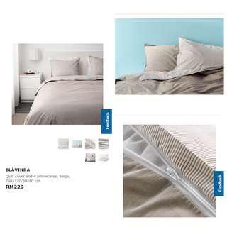 Ikea (King) Blavinda Quilt Cover With 4-Pillowcases, Beige (240x220cm)