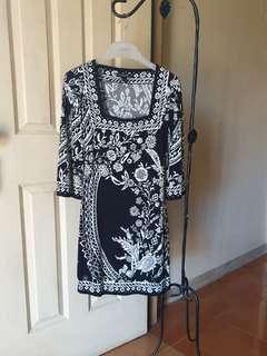 White /Black printed Dress