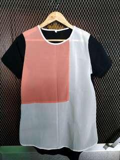 Tricolor Chiffon Long Blouse