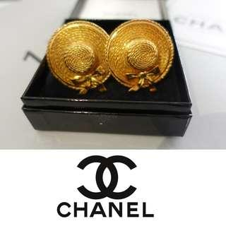 CHANEL VINTAGE STRAW HAT GOLD PLATED CLIP-ON EARRINGS