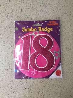 18th Birthday Jumbo Badge
