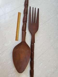 Giant Wooden Fork & Spoon