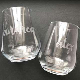 CUSTOMIZED wine glasses $15 each