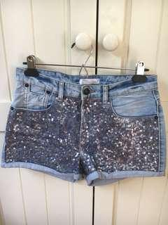 Ginatricot - Denim sequin shorts