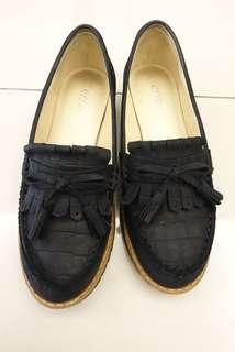 🚚 阿瘦Aso牛皮真皮黑色文青款3公分低跟鞋(7.5號)(台灣製)