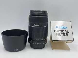 🚚 佳能 Canon EF-S 55-250mm + Hood + UV 長焦段 望遠鏡頭 二手