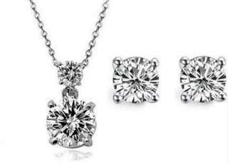 🚚 Swarovski elements crystal solitaire necklace earring set