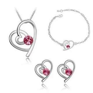 🚚 Swarovski elements crystal heart necklace earring bracelet set