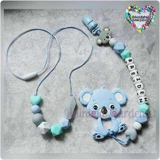 Handmade Mummy beads necklace & Baby Pacifier Clip with customisation of name + Blue Koala teether