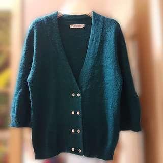 90%NEW Topshop Green Elegant Cardigan 暖暖中袖冷外套