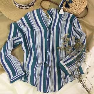 Candy v neck long sleeves green blouse