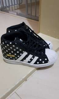 ce4a3672ab1 Authentic Adidas Superstar Up Polka dot Black White Highcut Sneakers