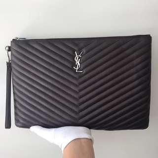 YSL Saint Laurent Black Tulipe Leather Clutch Bag 100% AUTHENTIC+BRAND NEW! #440222