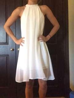 White or orange high neck dress