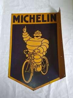 Vintage Michelin Metal signage Two Sides