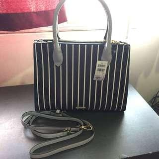 Call It Spring Cabiate Black & White Stripes Satchel Bag (BRAND NEW & AUTHENTIC)