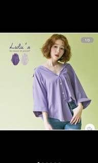 🚚 (免運)LULUS反摺短袖襯衫-紫