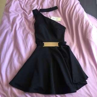 Little black going out dress with gold belt