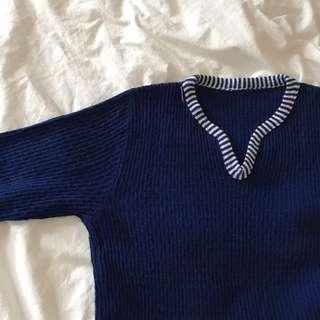 navy blue knitted top #MMAR18