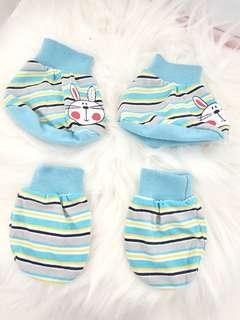 Baby mittens, booties and handkerchief